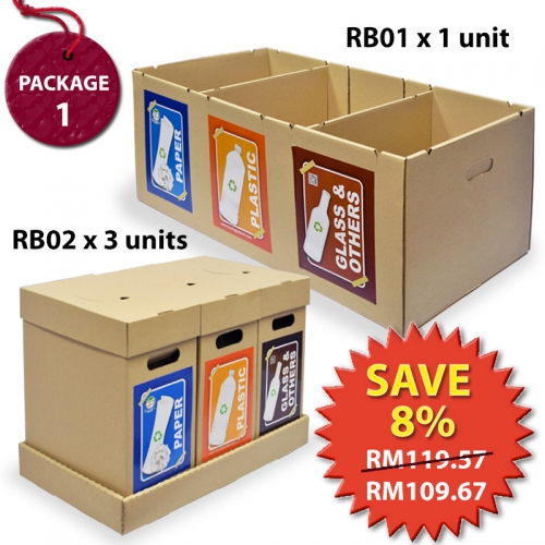 Recycle Bin Waste Separation Trash Bin Package RBP1- 1 unit RB01SE+3 units RB02