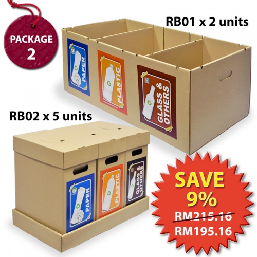 Recycle Bin Waste Separation Trash Bin Package RBP2- 2 units RB01SE+5 units RB02